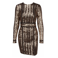 Women Sequins Party Dress Sexy Golden Sliver Black Belt Striped Bodycon Dress 2018 Metal Celebrity Tight