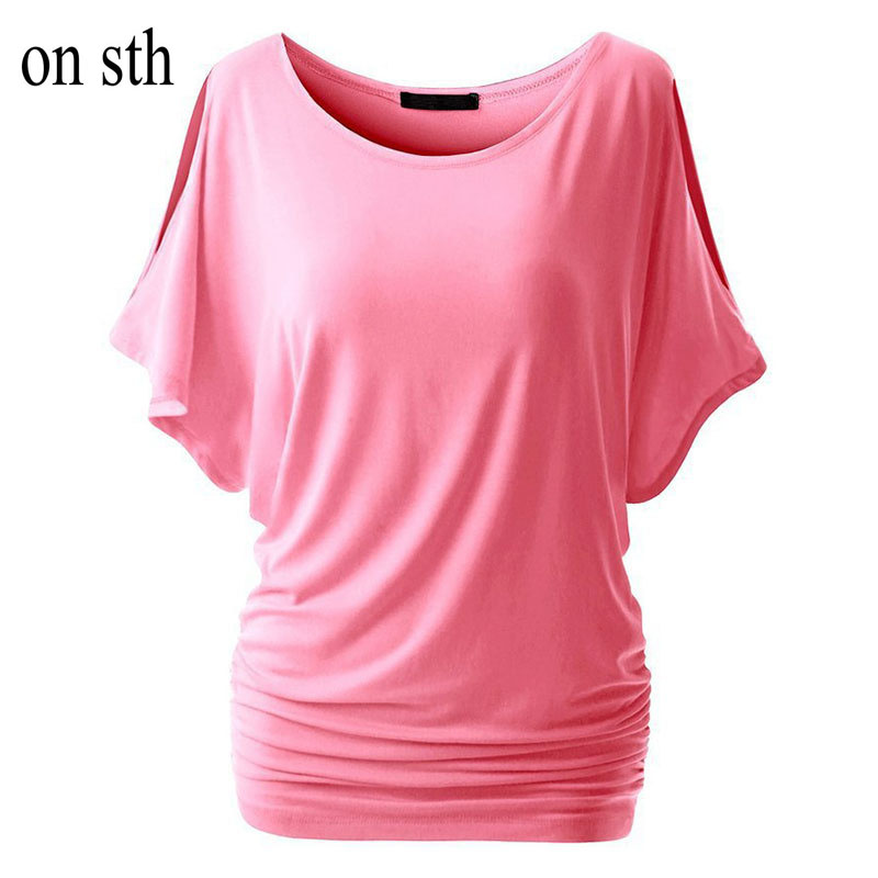 2018 summer girl clothers short office lady cheap casual o-neck solid Sexy T-shirts with bat sleeves woman t-shirts