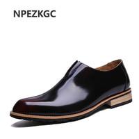 Business Men Shoes High Quality Genuine Leather Brogues Men Shoes Oxfords Men Dress Shoes Slip On