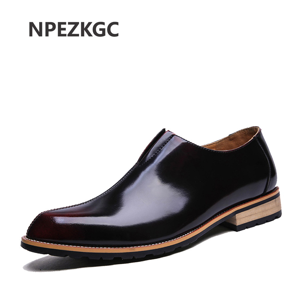 NPEZKGC Men Shoes High Quality Genuine Leather Brogues Men Shoes Oxfords Men Dress Shoes slip on Casual Shoes Bullock Flats vintage genuine leather shoes men slip on brogues dress shoes size 38 43 chaussure homme quality wedding shoes for men flats f31