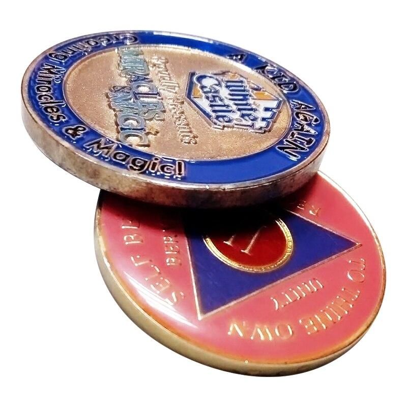Epóxi impressão dupla-face moedas moedas de metal personalizados baratos