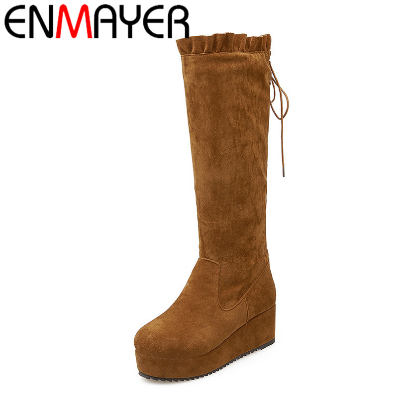 ФОТО ENMAYER High Heels Half Boots Shoes Woman Lace-Up Flock Winter Boots Platform BigSize34-45 Classic Mid-calf Boots Platform Plush