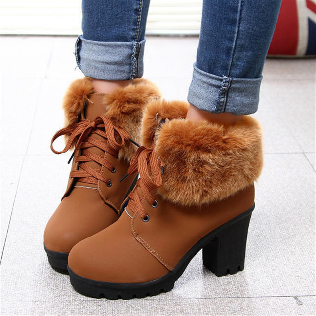 2018 Women Ankle Boots Plus Size 35-39 Med Square Heels Ladies Snow Boot Feather Office Female Shoes Woman