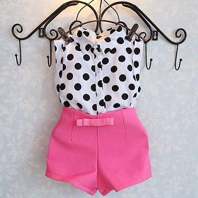 2pcs Baby Clothing Set Girl Child Kid Polka Dot T shirt Tops Pink Pants Shorts 2pcs baby clothing set girl child kid polka dot t shirt tops pink pants shorts