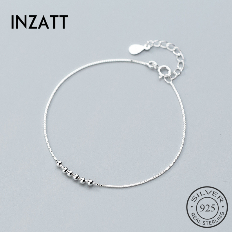 INZATT Real 925 Sterling Silver Minimalist Geometric Beads Bracelet Fine Jewelry For Charm Women Party Fashion Jewelry Gift