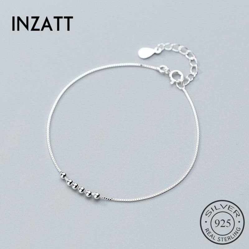 INZATT Real 925 Sterling Silver Minimalist Geometric Beads Bracelet Fine Jewelry For Charm Women Party Fashion Jewelry Gift