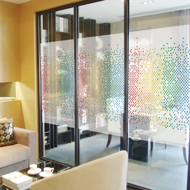 Nova criatividade tricolor mosaico filme de vidro janela adesivo transparente opaco fosco sem cola removível para decoração de escritório de negócios