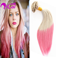Cheap Ombre Blonde Pink Clip In Hair Unprocessed Peruvian Virgin Hair Silk Straight 10pcs/set Pink Clip In Human Hair Extensions