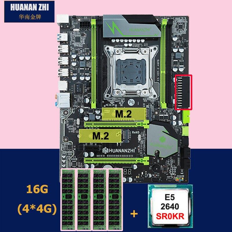 Desconto conjunto motherboard HUANANZHI X79 motherboard Pro com dual slot M.2 NVMe E5 SSD CPU Intel Xeon 2640 2.5 GHz RAM 16G (4*4G)
