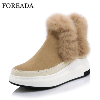 FOREADA Women Natural Leather Boots Winter Ankle Boots Sewing Rabbit Fur Boots Platform Wedges High Heel Shoes 2018 Female Shoes