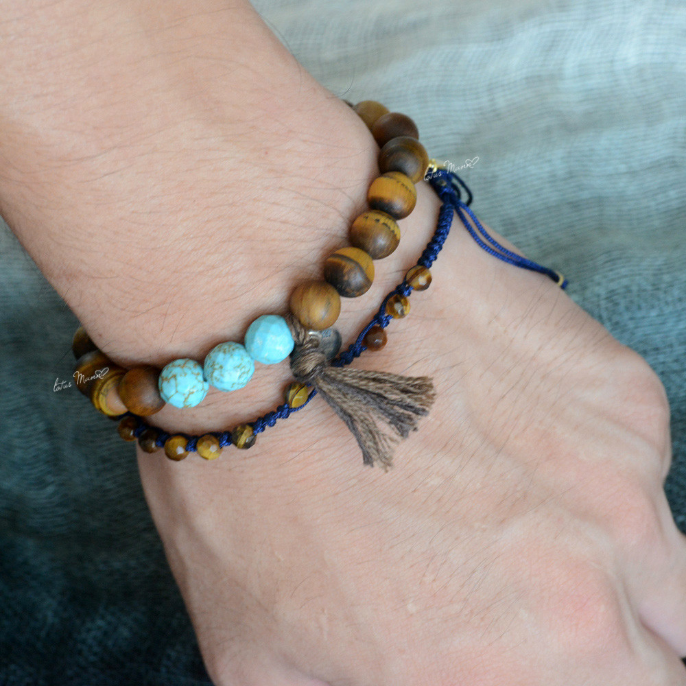Lotus Mann Frosted Lap Elastic Small Tassel Tiger Eye Stone And Turquoise  Bracelets For Men And