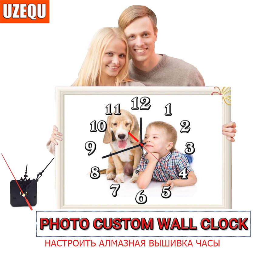 US $1 87 35% OFF|UzeQu Private Custom 5D Diamond Painting Cross Stitch Wall  Clock Photo Custom Make Your Own Watch Diamond Embroidery Full Round-in
