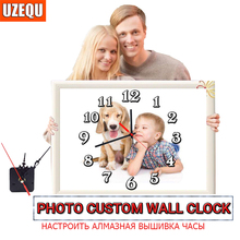 UzeQu Private Custom 5D Diamond Painting Cross Stitch Wall Clock Photo Make Your Own Watch Embroidery Full Round