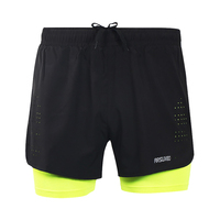 2017 Mens Sports 3 Running Shorts Active Training Exercise Jogging 2 IN 1 Shorts With Longer
