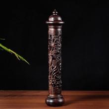 С подарком Lanshan сандалового дерева Ладан Щупы для мангала и Подарочная коробка высота 29 см ручной работы черного дерева Дракон Скульптура stick Ладан горелки S