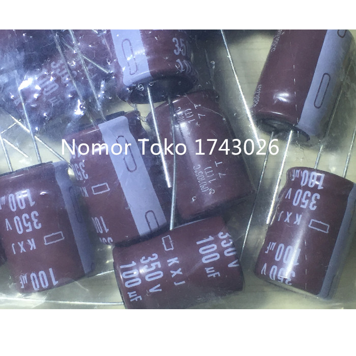 High quality 50 pcs/lot Aluminum electrolytic <font><b>capacitor</b></font> <font><b>100</b></font> <font><b>uF</b></font> 350 V 18*25mm Electrolytic <font><b>capacitor</b></font> ic... image