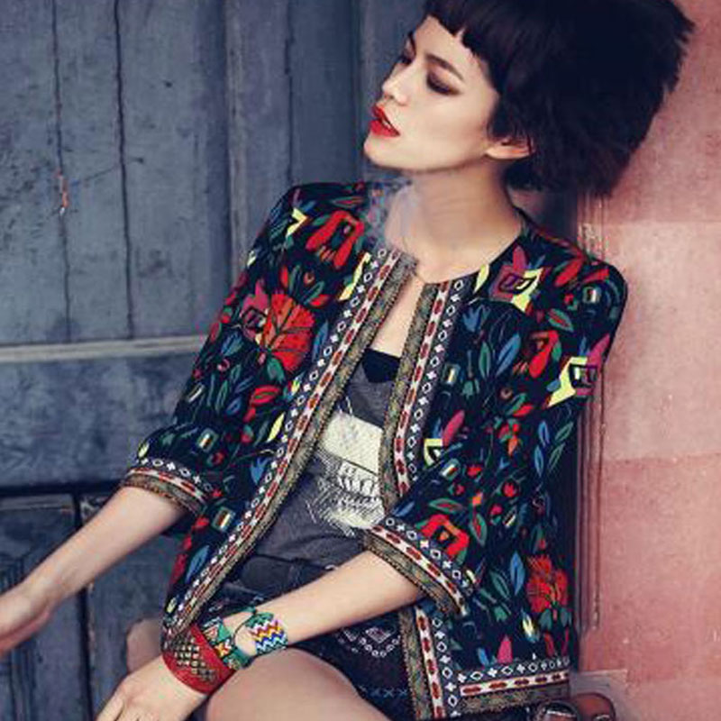 Women Floral Embroidery Casual Three Quarter O-neck Cotton Spring Autumn Short Slim Cool Coat W3695