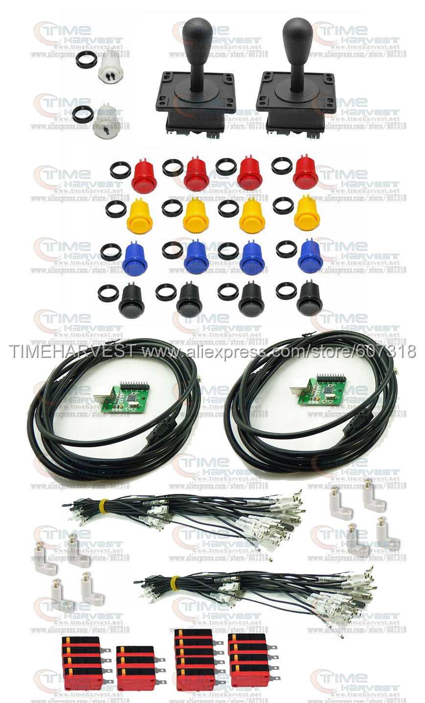 ФОТО Arcade parts Bundles kit With American Joystick buttons 2 x Zero Delay 1 player USB Encoder board Build Up Arcade Game Machine