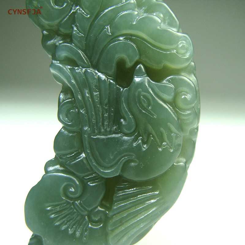 CYNSFJA จริง Certified Natural Hetian หยกพระเครื่อง Dragon Phoenix จี้หยกสีเขียวคุณภาพสูงมือแกะสลักของขวัญที่ยอดเยี่ยม