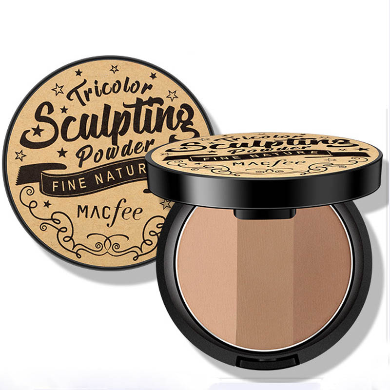 3 Color Bronzer Show Thin Brighten Powdery Cake V Face Lateral Nasal Shadow Powder Highlighter Grooming Plate Combination Makeup
