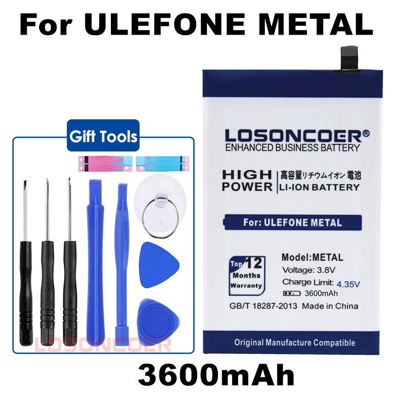 LOSONCOER 3600mAh METAL For Ulefone METAL Mobile Phone Battery Batteries+Quick Arrive