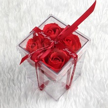 New Clear Acrylic Rose Flower Display Storage Box Organizer Flower Gift Box Case With Cover For Girlfriend Wife Valentine's Day