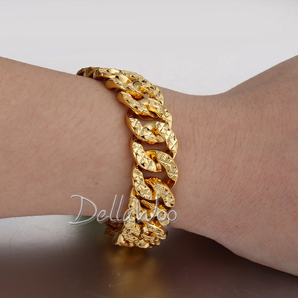 dp bling hip weigth big gold stainless bracelet hop for top goth massive heavy plated jewellery steel surgical quality men wide