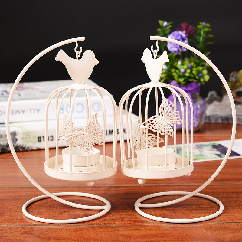 2017 Hanging Design Metal Vintage White Erfly Pattern Lantern Candlestick Wedding Home Decor Bird Cage Candle Holder In Holders From