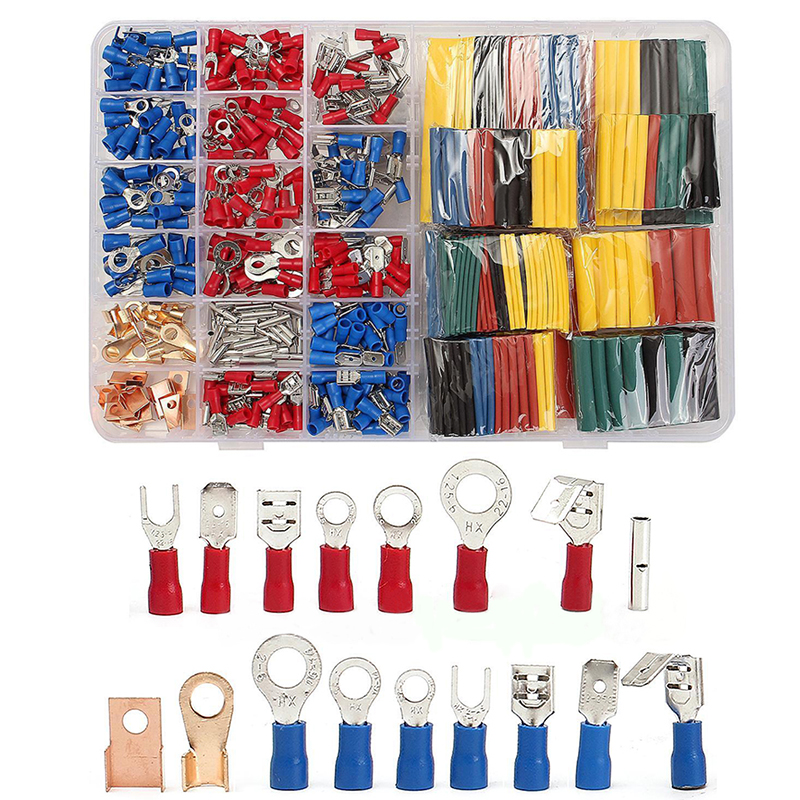 328pcs Assorted Heat Shrink Tube + 350pcs Insulated Spade Crimp TerminalS Electrical Wire Connector Kit Set 240pcs heat shrink wire connector kit electrical insulated crimp marine automotive terminals set