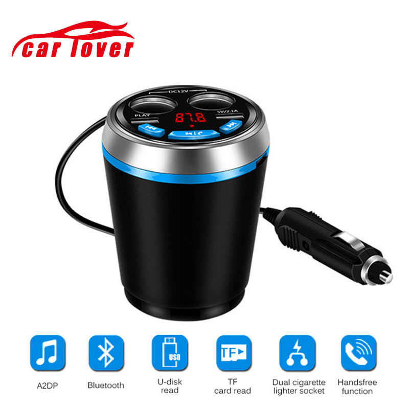 <font><b>Bluetooth</b></font> Auto <font><b>FM</b></font> <font><b>Transmitter</b></font> <font><b>Car</b></font> <font><b>Charger</b></font> <font><b>MP3</b></font> Player Handsfree <font><b>Car</b></font> Kit Cup Holder Cigarette Lighter 2 USB Power <font><b>Adapter</b></font> Splitter image