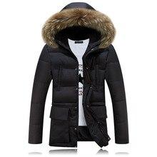 Зимняя Куртка Мужчины Известный Бренд Одежда 2016 Куртка Мужчины Большой Меховой Воротник Капюшоном Куртки Хлопка Мужчин Случайные Пальто