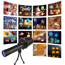 2018 New LED Laser Projector 18650 Battery Rechargeable Flashlight Projection 14 Patterns for Christmas