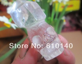 NATURAL WHITE Quartz Crystal Carved Wand/Point Skull Healing-FREE SHIPPINGa25