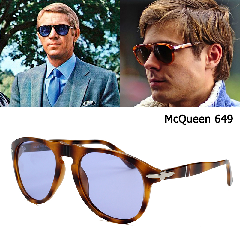 Clássico do vintage jackjad 649 piloto steve mcqueen estilo polarizado óculos de sol homem condução marca design óculos de sol