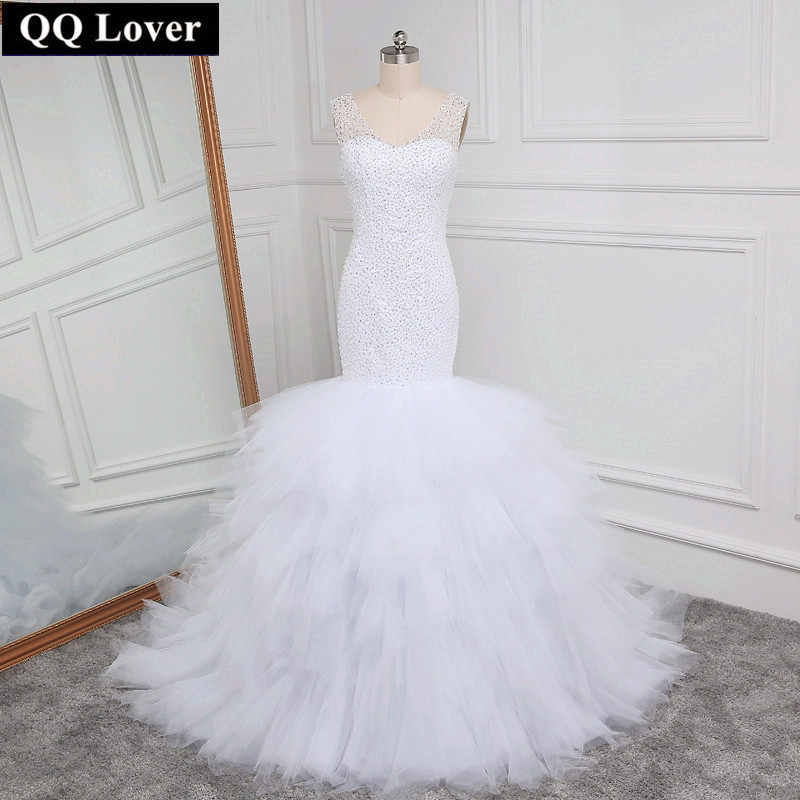 6a12eb0a6587 ... QQ Lover Arabic Style Wedding Dress 2019 Deep V Neck Beading Layer  Mermaid Wedding Chapel Train ...