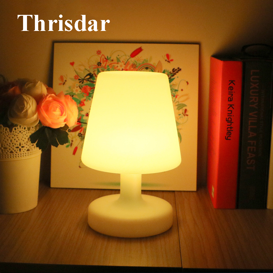 Thrisdar Remote Control LED Bedside Atmosphere Table Lamp USB Rechargeable LED Night Light Illuminated KTV Hotel Bar Table Light стоимость