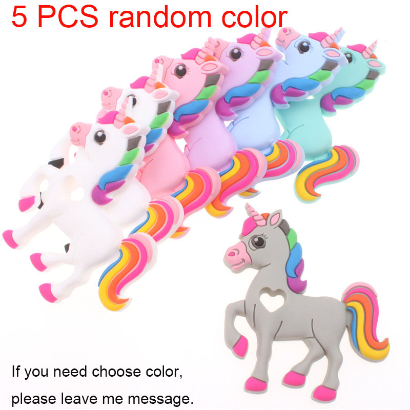 5PCS Silicone Teether Unicorn Chew Teething Necklace Accessories Silicone Pendants Food Grade Silicone Baby Toy Teethers