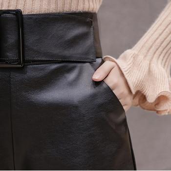 2019 Korean PU Faux Leather Shorts Women Autumn Winter High Waist Wide Leg Short ladies Plus Size Sexy Black Belted Short Femme 6