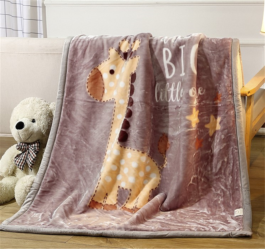 Double layer warm blanket kindergarten children Raschel blanket autumn winter nap thick cartoon Throw blanket On