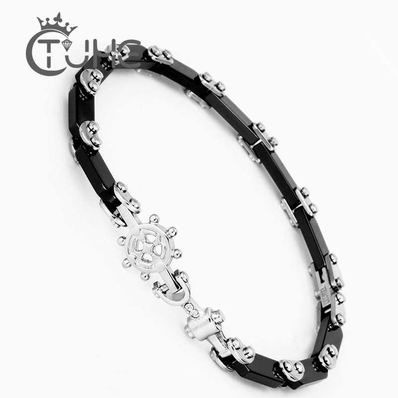 פאנק הגה עוגן קרמיקה צמיד שחור לבן קרמיקה צמידי צמידים לנשים אופנה הטוב ביותר אהבת ניווט מתנות