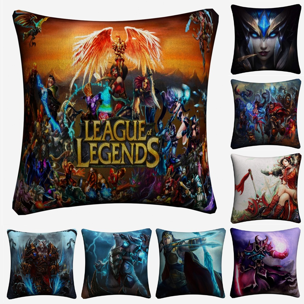 League Of Legend Game Figures Decorative Pillow Covers For Sofa Home Decor Linen Cushion Case 45x45cm Throw Pillow Case Almofada