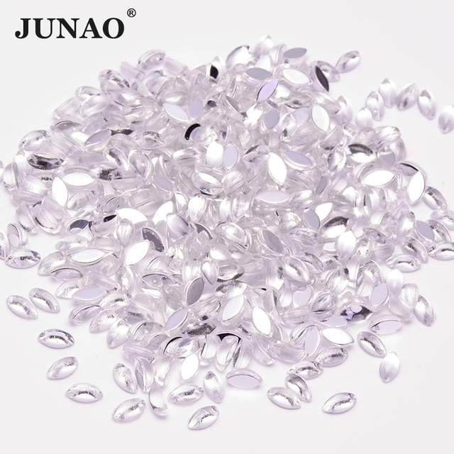 12f63eb53b76 JUNAO 3 6mm Clear White Crystal Nails Rhinestones Beads Horse Eye Crystals  Stones Flatback Acrylic