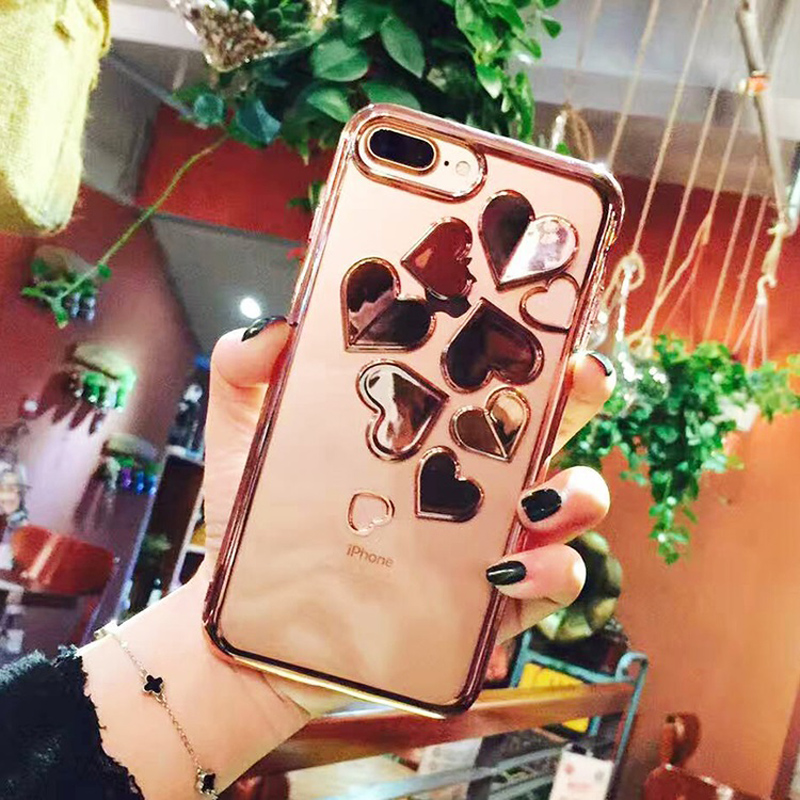 Lovely Phone Cases For iPhone 7 6 6s Luxury 3D Plating Love Heart Soft TPU Silicon Back Cover Capa For iPhone7Plus 6Plus 6SPlus