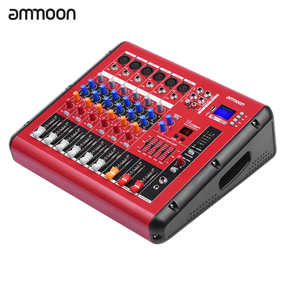 buy ammoon pmr606 6 channel digital audio mixer mixing console with power. Black Bedroom Furniture Sets. Home Design Ideas