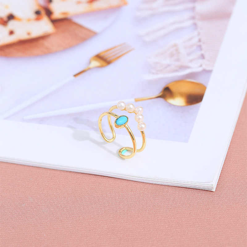 DAIMI Pearl Ring Jewelry Zircon 925 Silver Ring Sets turquoise Cherry Blossom Jewelry Package