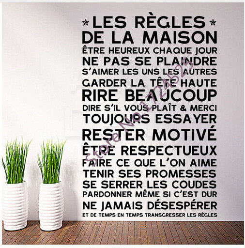 Top Selling <font><b>French</b></font> Family Rules Modern Wall Stickers <font><b>Home</b></font> <font><b>Decor</b></font> Removable Vinyl Art Family Family Creed Character Wall Decals