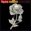 Посеребренная розы полный Rhinstone брошь кривый имитация перл кристалл шарф застежка брошь Pin для женщин Jewley оптовая продажа