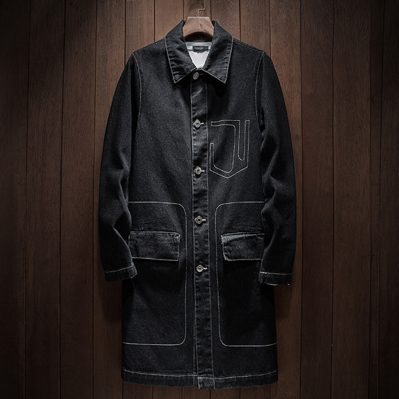 2020 New Arrival Spring High Quality Cotton Denim Trench Coat Men,men's Denim Casual Jackets ,plus-size