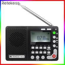 Retekess TR102 Portable Radio FM / AM / SW World Band Receiver MP3 Player REC Recorder with Sleep Timer Black FM Radio Recorder