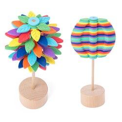 Folhas de madeira girando lollipop rotativa alívio barra brinquedos magia stress alívio brinquedo para adultos crianças presente para escritório decoração casa